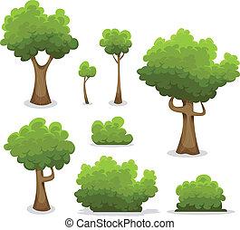 bos, bomen, hagen, en, struik, set
