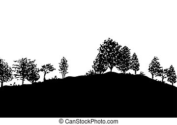 bos, bomen, silhouettes, achtergrond
