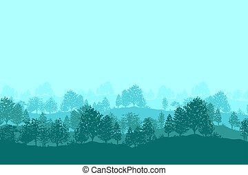 bos, bomen, silhouettes, achtergrond