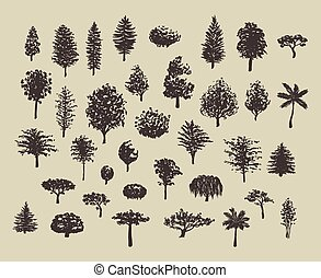 bos, bomen, silhouettes, set