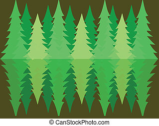 bos, dennenboom, reflectie