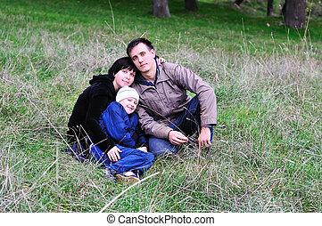 bos, gezin, vrolijke
