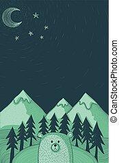 bos, illustratie, beer, nacht