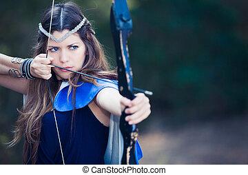 bos, jager, meisje, met buiging en pijl