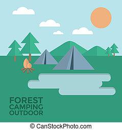 bos, kamperen, buiten, vector