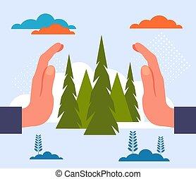 bos, plat, natuur, illustratie, grafisch, planeet, boompje, concept., vector, ontwerp, sparen
