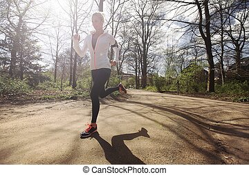 bos, rennende, vrouw, jonge, buitenshuis