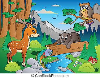 bos, scène, met, gevarieerd, dieren, 1