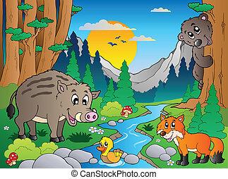 bos, scène, met, gevarieerd, dieren, 3