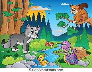 bos, scène, met, gevarieerd, dieren, 5
