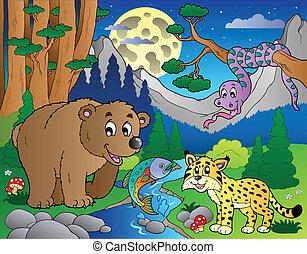 bos, scène, met, vrolijke , dieren, 1