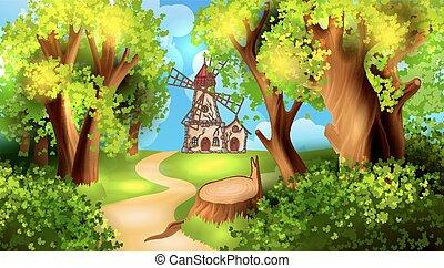 bos, straat, met, windmolen, op achtergrond