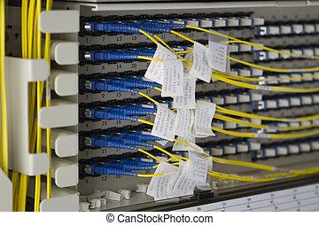 bos van, gele, fiberoptic, kabels, met, blauwe ,...