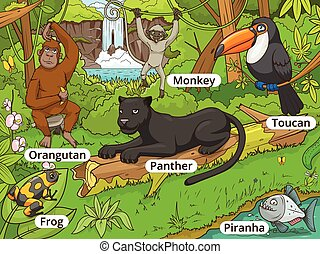 bos, vector, dieren, jungle, spotprent