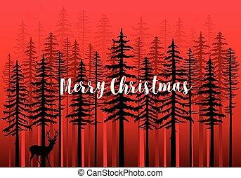 bos, vector, winter, kaart, kerstmis