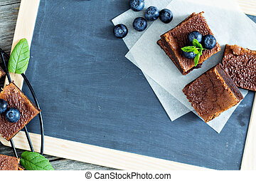 bosbessen, brownies, chalkboard
