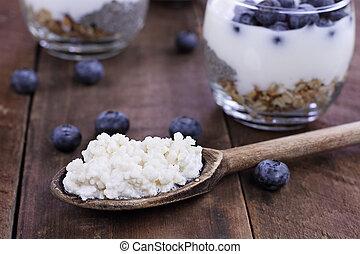 bosbessen, graankorrel, kefir, yoghurt, parfait, chia