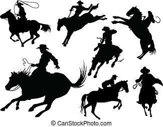 boskapsskötare, silhouettes