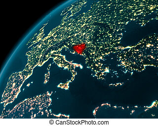 Bosnia and Herzegovina at night on Earth - Night map of...