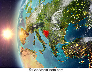 Bosnia and Herzegovina during sunset from space - Bosnia and...