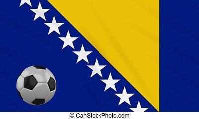 Bosnia and Herzegovina flag and football, loop - Bosnia and...