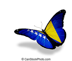 Bosnia and Herzegovina flag butterfly flying, isolated on...