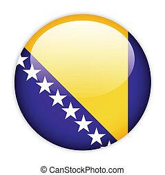 Bosnia and Herzegovina flag button on white