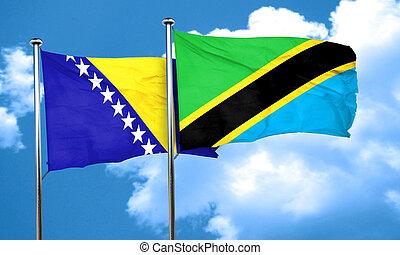 Bosnia and Herzegovina flag with Tanzania flag, 3D rendering
