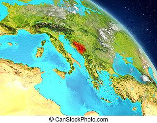 Bosnia and Herzegovina from orbit - Illustration of Bosnia...
