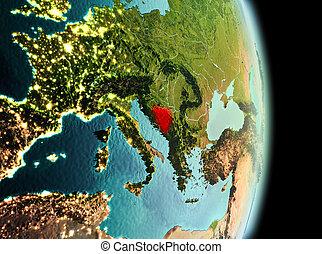 Bosnia and Herzegovina in morning from orbit - Early morning...