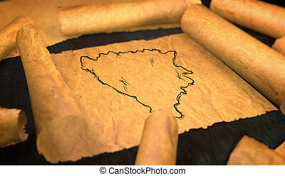 Bosnia and Herzegovina Map Drawing Unfolding Old Paper...