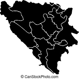 Bosnia and Herzegovina map - High detailed vector map with...