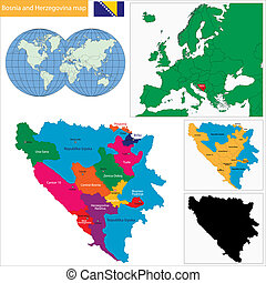 Bosnia and Herzegovina map - Map of administrative divisions...