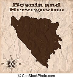 Bosnia and Herzegovina old map with grunge and crumpled...