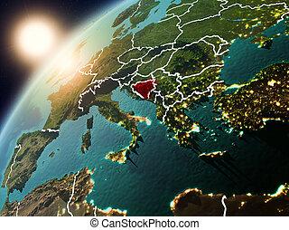 Bosnia and Herzegovina on planet Earth in sunset - Bosnia...