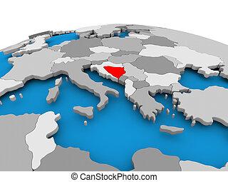 Bosnia and Herzegovina on political globe - Bosnia and...