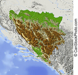 Bosnia and Herzegovina. Shaded relief map with major urban areas. Surrounding territory greyed out. Colored according to elevation. Includes clip path for the state area.