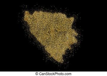 Bosnia and Herzegovina shaped from golden glitter on black...