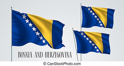 Bosnia and Herzegovina waving flag set of vector...