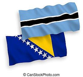 bosnia, botsuana, banderas, herzegovina, fondo blanco