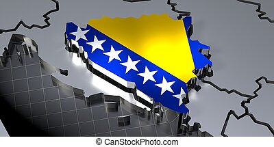 Bosnia - country borders and flag - 3D illustration