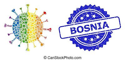 bosnia, covid-19, geométrico, sello, espectro, angustia, ...