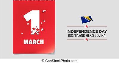 bosnia, herzegovina, vector, ilustración, día de ...