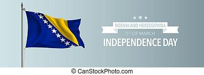 bosnia, herzegovina, vector, ilustración, feliz, día de ...
