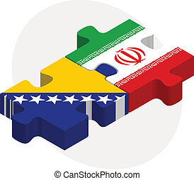 Bosnia Herzegovinan and Iranian Flags in puzzle