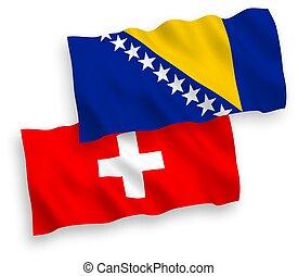 bosnia, plano de fondo, banderas, blanco, herzegovina, suiza