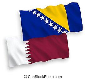 bosnia, qatar, banderas, herzegovina, fondo blanco