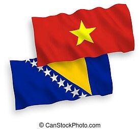 bosnia, vietnam, plano de fondo, banderas, blanco, ...