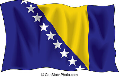 Bosnian flag - Waving flag of Bosnia and Herzegovina...