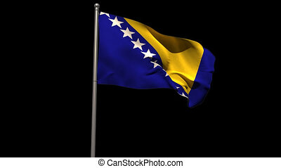 Bosnian national flag waving